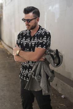 T shirt black jeans grey jacket fashion men tumblr Style streetstyle beard sunglasses