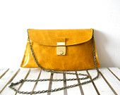 Beautiful leather clutch with vintage buckle - Beautiful Yellow