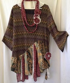 Shop for boho dress on Etsy, the place to express your creativity through the buying and selling of handmade and vintage goods. Shirt Refashion, T Shirt Diy, Clothes Crafts, Sewing Clothes, Doll Clothes Patterns, Clothing Patterns, Altered Couture, Recycled Fashion, Altering Clothes