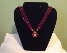 deep red burgundy lace necklace / pearl beaded/ gold by LaceFancy