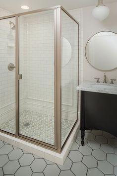 Fabulous bathroom features corner shower with subway tile shower surround and marble hex tile shower floor next to schoolhouse pendant over Ikea Grund. Ikea Bathroom Mirror, Black Vanity Bathroom, Bathroom Floor Tiles, Bathroom Renos, Shower Floor, Basement Bathroom, White Bathroom, Bathroom Ideas, Kohler Vanity