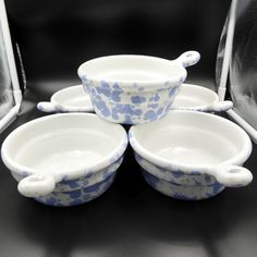 Bennington Pottery Bowls Set 5 Agate Morning Glory Blue  Onion Soup Handles #BenningtonPottery #Handled