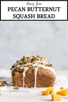 This healthy BUTTERNUT SQUASH BREAD recipe is an easy way to enjoy squash, or even trick your kids into eating it! It's topped with a simple and delicious glaze, making it a little bit sweeter too. #bread #butternutsquash #butternutsquashbread Mashed Butternut Squash, Pumpkin Squash, Healthy Breakfast Recipes, Snack Recipes, Healthy Snacks, Breakfast Items, Bread Baking, Pecan, Bread Recipes