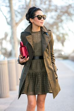 Olive Love :: Crochet shift dress & Dark green trench :: Outfit :: Jacket :: Burberry Dress :: ASOS Bag :: Celine Shoes :: Aquazzura Accessories :: Karen Walker sunglasses Published: January 9, 2015