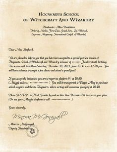 Hogwarts Acceptance Letter By Legiondesign Harry Potter Party