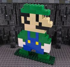 Big Lego Mario Brothers Luigi Figure with Handmade by ArtsySAHD - - Lego Mario, Lego Super Mario, Mario Brothers, Mario Bros, Manual Lego, Legos, Mario Crafts, Deco Gamer, Big Lego