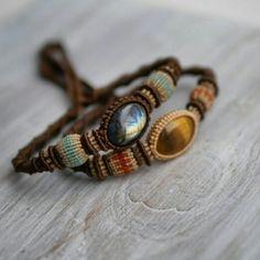 Boho macrame bracelet with gemstone, beaded bracelet, macrame stone, hippie brac… - new season bijouterie Macrame Colar, Macrame Necklace, Macrame Jewelry, Macrame Bracelets, Bohemian Jewelry, Bracelets Hippie, Yoga Armband, Micro Macramé, Yoga Bracelet