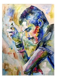 Rock and roll wall art - painting - freddie mercury with cigarette by suzann sines Canvas Art, Canvas Prints, Art Prints, Freedie Mercury, Winsor And Newton Watercolor, Queen Art, We Will Rock You, Queen Freddie Mercury, Arte Pop