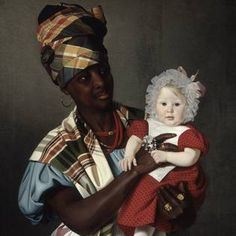 Neky with Marie Birch Dahlerup in 1838. Painting by Niels Peter Holbech. The National Museum, Denmark.   Neky was from the Carribian Islands (St. Croix or St. Thomas were Danish colonies). She  served as a nanny in Copenhagen. Was she a slave?