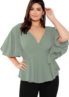 Cute Blouses, Plus Size Blouses, Plus Size Tops, Plus Size Women, Blouses For Women, Women's Plus Size Shorts, Plus Size Outfits, Mode Plus, Looks Plus Size