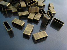 Finding - 10 pcs Antique Brasss Straight Flat Rectangular Tubes 5mm x 10mm x 4mm ( Inside 9mm x 3mm Hole )
