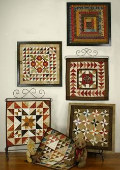 "Quilt Squares #3 is a series of small quilts. Frame the quilts using 12""x 12"" readymade frames. Designed by Lori Smith of From My Heart to Your Hands"