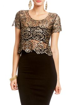 2b   Cropped Metallic Lace Top - View All