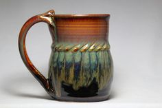unique coffee mug 12oz stoneware mug pottery by DrostePottery