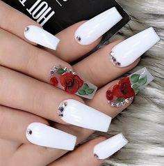 Cute Nail Art Designs For Short Nails 2019 24 Cute Nail Art Designs, Acrylic Nail Designs, Fingernail Designs, Gorgeous Nails, Pretty Nails, Fun Nails, Perfect Nails, Glitter Nails, White Acrylic Nails