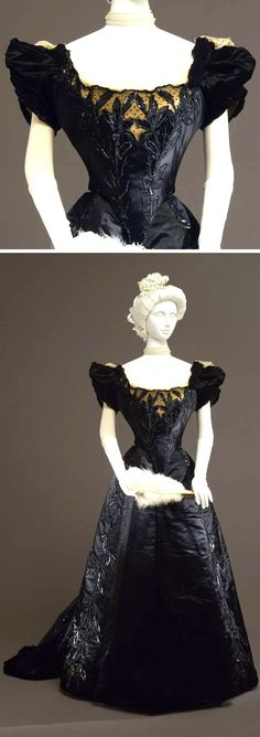 """Evening gown, Worth, circa Two pieces (bodice and skirt) in black silk satin and lace. """"En couer"""" bodice embroidered in leaf motifs with glass straws and beads. Via Collection Galleria del Costume di Palazzo Pitti. 1890s Fashion, Edwardian Fashion, Vintage Fashion, Edwardian Era, Victorian Era, Antique Clothing, Historical Clothing, Vintage Gowns, Vintage Outfits"""