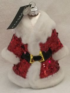 CHRISTOPHER RADKO CELEBRATIONS GLASS CHRISTMAS ORNAMENT SANTA COAT NEW BOX