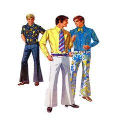 60s Mens Body Shirt & Bell Bottom HipHugger by FindCraftyPatterns