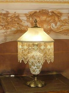 Vintage Antique Bronze Czech Overlay Table Lamp w/ Art Deco Glass Shade | eBay