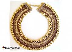 Crochet and chain necklace www.jewelmyday.gr www.jewelmyday.eu #handmade #accessories #fashion #jewelry
