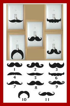 $1.50 Set of 2 Vinyl Mustache Decals, for Light Switches and More! only @ thecoompanyboutiques.com