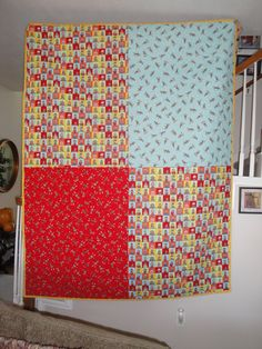 Sock Monkey Quilt - back side - 4 pieces of sock monkey fabric for the opposite side of Hannah's graduation quilt :) Machine quilted by my friend Eleanor with her amazing long arm quilting machine!