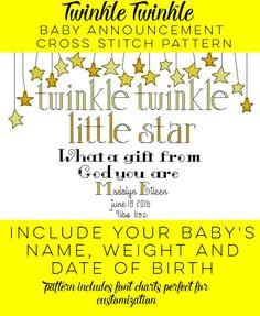 Twinkle Twinkle Baby Announcement Cross Stitch Pattern