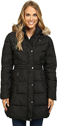 US Polo Assn Womens Long Puffer Coat with Faux Fur Trimmed Hood Black XL ** You can find more details by visiting the image link. (Note:Amazon affiliate link)