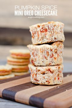Pumpkin Spice Mini Oreo Cheesecake Recipe - so yummy and easy to make!   anightowlblog.com