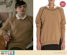 Mary's tan sweater with black trim on Once Upon a Time.  Outfit Details: http://wornontv.net/31620/ #OUAT