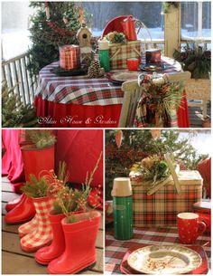 Aiken House & Gardens: A Plaid Winter Picnic on the porch ~ vintage thermos ~ Carolyn aiken