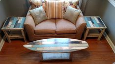 Faux Pallet Wood Rustic Weathered Surfboard Coffee by MarkerSix