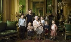 Family portrait shot by Annie Leibovitz shows first nonagenarian monarch surrounded by her five great-grandchildren and two youngest grandchildren