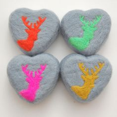 MADE TO ORDER Felted Soap Grey Heart with Yellow/Green by SoFino
