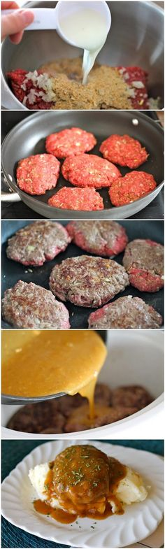 Slow Cooker Salisbury Steaks | This recipe goes together quickly and does not need a lot of time in the slow cooker. It's a delicious way to add flavor to ground beef and the children love it! The gravy is delightful served over mashed potatoes