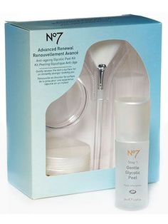 No7 Advanced Renewal Anti-ageing Glycolic Peel Kit twice-weekly Boots kit, a glycolic acid solution