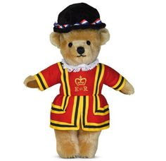 """London Beefeater Teddy [GM11BE] - """"London Beefeater"""" This wonderfully patriotic character boasts all the charm of a classic London Gold, yet is adorned in beautifully made wool felt Beefeater outfit. The uniform is fully removable and finished with a co-ordinating Tudor hat - A true British icon and entirely handmade in England. Mohair 100% Wool Felt Velveteen Cotton lace Cotton thread Size:"""
