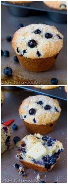 My go-to Blueberry Muffin recipe. Fantastic muffins each time. Big, bakery-style, soft, and exploding with juicy blueberries!