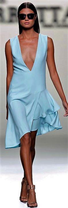 ROBERTO TORRETTA short blue dress women fashion outfit clothing style apparel @roressclothes closet ideas