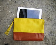TWO TONE - Yellow and Brown Color Block Zipper Pouch Leather Clutch