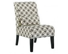 Contemporary Armless Accent Chair – White and Brown Print - Sam Levitz Furniture
