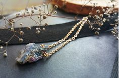 Delicate necklace happy unicorn rainbow druzy agate cluster pendant golden color chain by FluffyRacoon on Etsy https://www.etsy.com/listing/454242388/delicate-necklace-happy-unicorn-rainbow