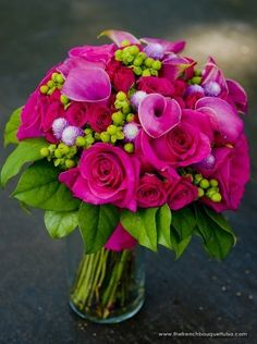 Hot Pink Bouquet Filled with Callas, Gomphrena, Hot Pink Princess Roses, and Bright Green Hypericum Berries - The French Bouquet - James Walton Photo