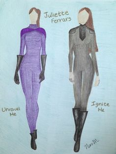 Juliette Ferrar's suits in Unravel Me and Ignite Me drawn by Nora McQueary.