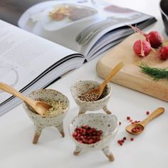 CERAMIC STONEWARE POD BOWLS - These versatile handbuilt bowls can be used in the kitchen (to hold salt, pepper or condiments), on top of your dresser as a unique jewelry holder or as a beautiful planter for succulents and air plants!