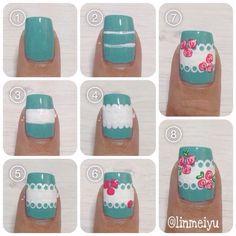 Encontre este Pin e muitos outros na pasta Nails de Brittany. Flower Nail Designs, Flower Nail Art, Nail Art Designs, Nail Art Hacks, Easy Nail Art, Easy Art, Diy Nails, Cute Nails, Shabby Chic Nails