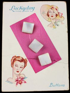 ButtonArtMuseum.com - Antique Square Pearl MOP Shell Buttons on Original Graphic Store Card Lady Hat