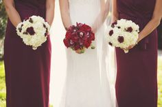 #Red garden roses, reddish #cymbidium orchids and berries bouquet. Creamy white hydrangeas, plum chrysanthemums and berries #wedding bouquets.  teresaferrando.com. Photography by Catherine Dunbar.
