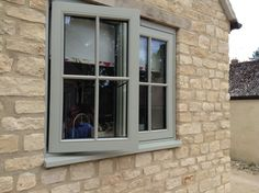 Transform the look of your property with our beautiful, handcrafted traditional timber windows. From casement timber windows to single wooden windows we craft to your exact requirements & specifications. Barn Windows, Cottage Windows, Green Windows, Timber Windows, Wooden Windows, Casement Windows, House Windows, Windows And Doors, Cottage Door