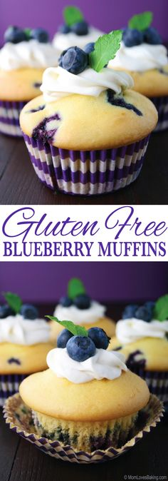 These Gluten Free Blueberry Muffins are light, fluffy and lemony. You would never know they were gluten free! Get the recipe on http://MomLovesBaking.com